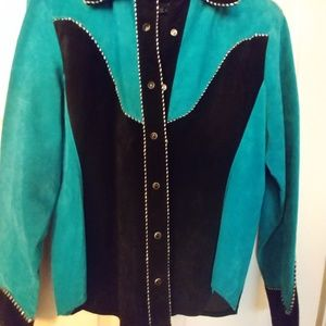 Vintage Scully suede black/turquoise wm western sh